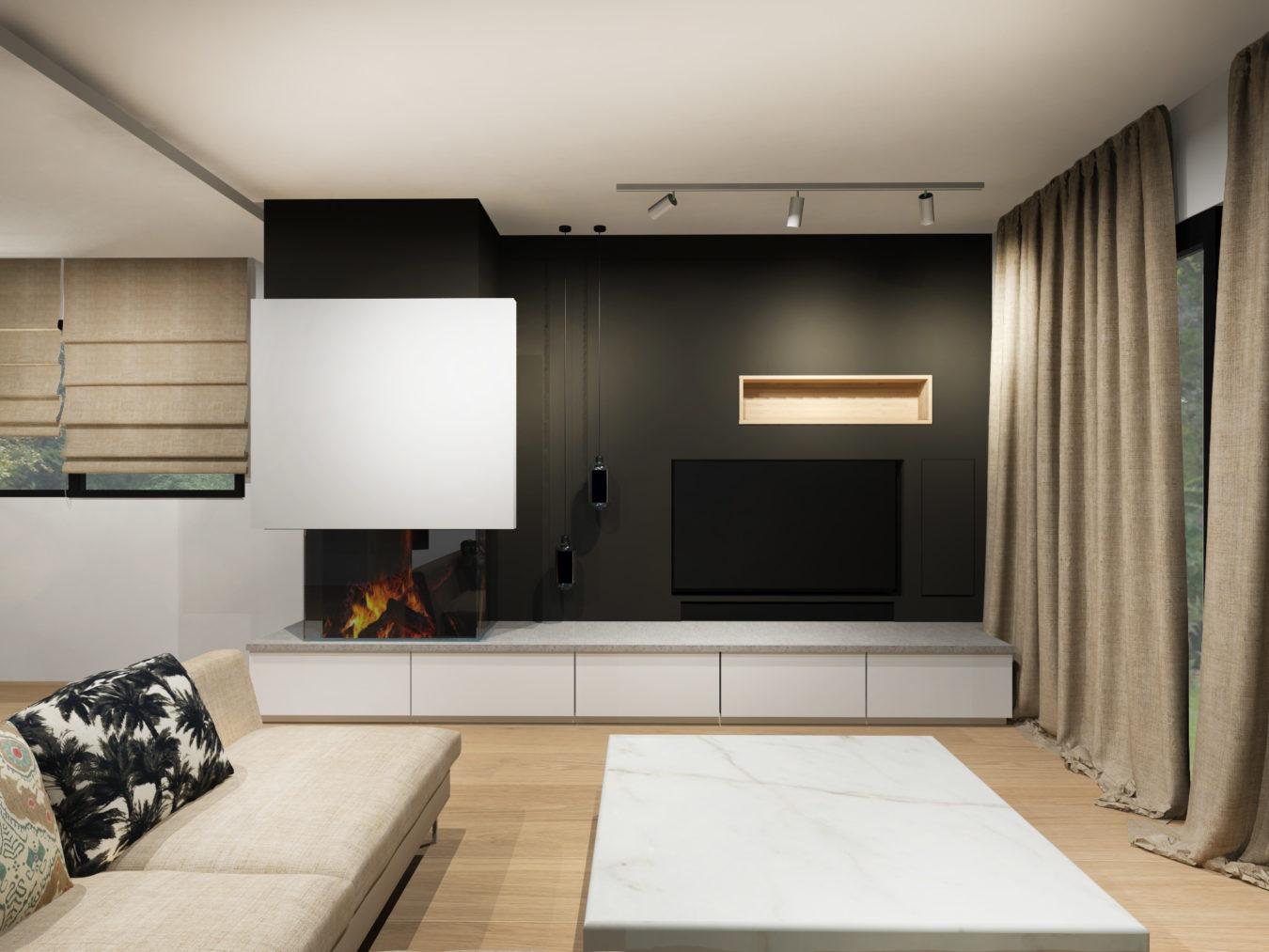 Anouck Charbonnier - Vue 3D - réalisation maison complète - vue salon - Salvagny